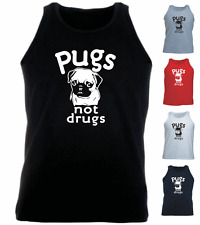 Pugs Not Drugs Funny Pug Dog New Gift Birthday Athletic Vest Tank Top