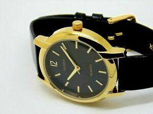 citizen quartz men's gold plated black dial japan made watch run order a