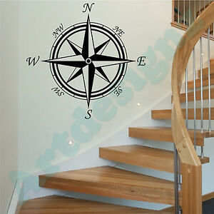 COMPASS ROSE Wall Stickers Nautical Maritime Vinyl Art Decals Transfers