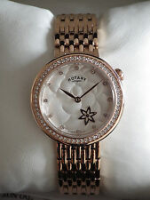 Rotary Ladies LB03896/01 Rose Gold Rotating Flower Dial Bracelet Watch - NEW