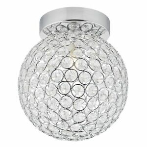 Modern Chrome and Clear Glass IP44 Rated Bathroom Ceiling Light by Happy Home...