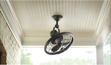 """Damp Outdoor/Indoor 18"""" Small Oscillating Patio CEILING FAN + Wall Remote Canopy"""