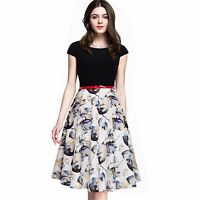 New Summer Women Tropical Swing A-line Short Sleeve Floral Print Patchwork Dress