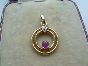 Vintage 18ct Gold Natural Ruby & Diamond Pendant.