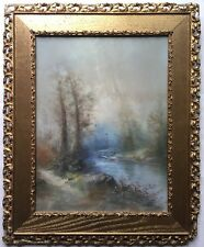 Antique 19th Century Original PASTEL PAINTING Landscape SIGNED Ornate Gold Frame