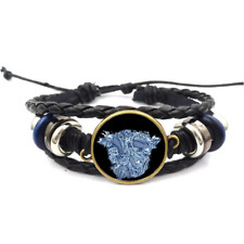 Tattoo Koi Fish Glass Cabochon Bracelet Braided Leather Strap Bracelets