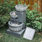 Resin Garden Stone Water Feature Solar Powered Indoor/outdoor Led Falls Fountain