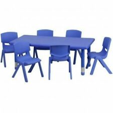 Daycare Activity Table Chairs Set Preschool Children Play Kids Toddler Game Blue