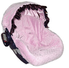 Choose Pink or Blue Minky Dots infant carseat cover with Custom Colored Ruffle