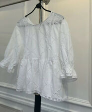 Zara White Lace Style Cropped Oversized  3/4 Sleeve Blouse Size Small