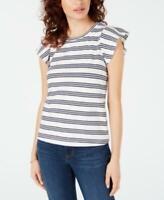 Maison Jules Womens Crew Neck Short Sleeve Striped Flutter-Sleeve Top (White XL)