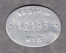 Berlin -WR MfS- Wertmarke aus Alumium-Blech Nr. 12195