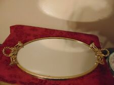 VINTAGE GLOBE GOLD GILT OVAL VANITY TRAY WITH FLOWERS AND LEAVES