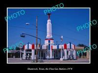 OLD LARGE HISTORIC PHOTO SHAMROCK TEXAS THE FINA GAS STATION c1970