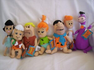 The Flintstones Plush x7 Fred, Barney, Wilma, Betty, Bam Bam, Pebbles, Dino NWT