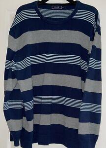 'Maine New England' Gents Navy Grey White Striped L/S Top, Size XXXL, Used, Exc