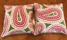 "Lot (2) 123 Creations Green & Pink Paisley Needlepoint Wool 18x18"" Throw Pillows"