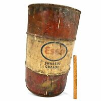 """Vintage ESSO """"CHASSIS GREASE"""" DRUM """"100 Pounds"""" Barrel/Can 24""""T x 14"""" dia PATINA"""