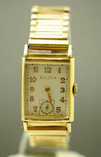 VINTAGE BULOVA 14K GOLD WHITE DIAL STRETCHY BAND HAND-WINDING LADIES WATCH