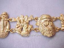 Christmas Bracelet-AJC Vintage Bracelet-Gold t Metal Santa Wreath Bell 7.5x1.25