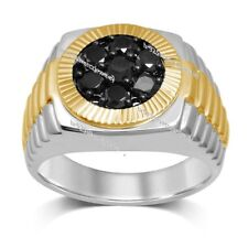 Two Tone Gold Over Rd AAA Lab Diamond 1.50 Ct Engagement Wedding Men Pinky Ring