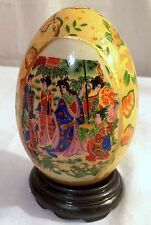 """NEW 5.5"""" DECORATIVE ORIENTAL CHINESE GEISHA PORCELAIN EGG HAND PAINTED & STAND"""