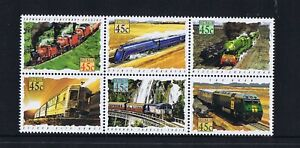 Australian Decimal Stamps Trains 1993 45c Trains Se-Tenant Block 6 MNH