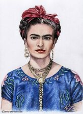"""""""Hommage to Frida Kahlo"""" Fine Art Print A4, Kunstdruck mit Zeichnung Portrait"""