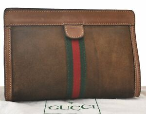 Authentic GUCCI Web Sherry Line Clutch Bag Suede Leather Brown C2789