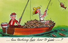 VTG POSTCARD MAN TEACHING HER HOW TO FISH FISHING REEL THEM IN HUMOR / A38