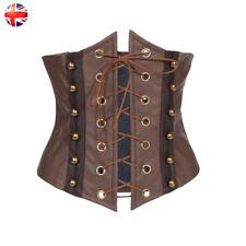 UK Brown Faux Leather Underbust Corset Top Women Waistband Waist Shaper