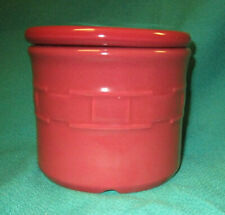 Longaberger Pottery One Pint Crock with Lid - Paprika Red - 4in Tall