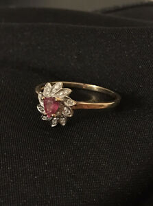 Natural Ruby And Diamond Cluster Ring In 9ct Gold