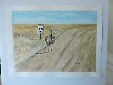 Meep! Meep! Orig Watercolor Painting Wildlife Bird Ostrich Humor Dirt Road Brush