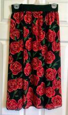 Lularoe LOLA 2XL Red Roses on Black Lined Skirt Elastic Waist NWT