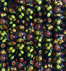 30 Handmade Lampwork Glass Beads Bumpy Dots Black Orange Rondelle Fall Halloween