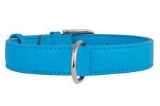 COLLAR CO DOUBLE LEATHER DOG COLLAR BRIGHT BLUE MEDIUM 38-49 CM NECK