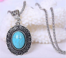 Vintage Jewelry Tibetan Silver Oval Turquoise Women Pendant Necklace !