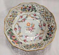 "Vintage 1930s Schumann Arzburg Dresden Reticulated Porcelain Bowl 9"" W 2 3/4"" T"