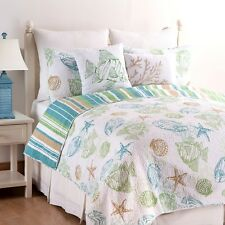 REEF POINT Full / Queen QUILT SET :  OCEAN STARFISH FISH CORAL BEACH SHELLS AQUA