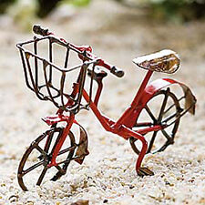 Closeout! Dollhouse Miniature Fairy Garden Metal Bicycle Bike, RED