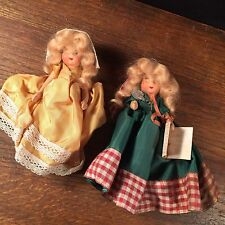 Vintage Doll Lot (2) Small Real Hair Clothes Priority Mail