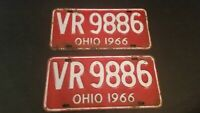 Vintage License Plate 1966 State Of Ohio Pair Red and White VR9886
