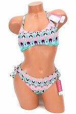 dd2d0fba5c0cc Hula Honey Printed Bikini With Crochet Racerback 2PC Size Large Swimsuit NWT