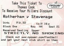 Ticket - Rotherham United v Stevenage 09.10.10