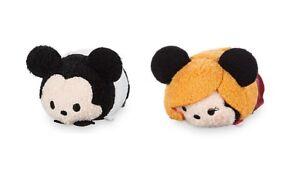 "Disney Store Mickey & Minnie Tower of Terror Tsum Tsum 2pc Plush Set Toys 3 1/2"""