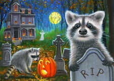 ACEO original raccoon haunted house Halloween forest moon cemetery painting art