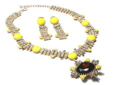 Vintage Czech necklace earring set clear glass rhinestones yellow cabochons