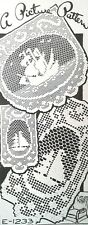 "1233 Vintage ""SAILORS DELIGHT"" Filet SAILBOAT Pattern to Crochet (Reproduction)"