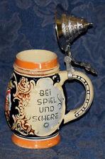 """Original BEER STEIN w/LID """"BEI SPIEL UND SCHERZ, BLEIBT FROH DAS HERZ"""" W.Germany"""